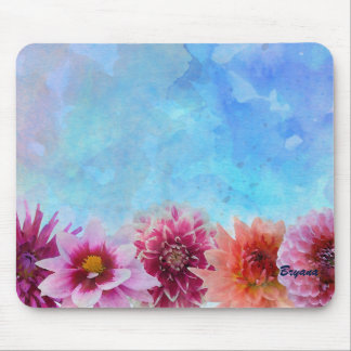 Watercolor Flowers Modern Floral Elegant Mouse Pad