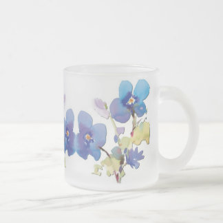 Watercolor Flowers Frosted Glass Mug
