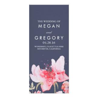 Watercolor Flowers Navy and Pink Wedding Programs Rack Card