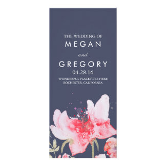 Watercolor Flowers Navy and Pink Wedding Programs Rack Card Template
