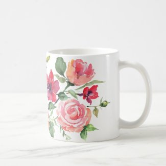 Watercolor flowers on coffee mug