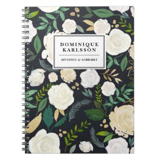 Watercolor Flowers Pattern in Faux Chalkboard Gold Spiral Notebook