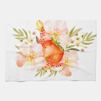 Watercolor Flowers & Persimmon Fruit Bouquet Tea Towel