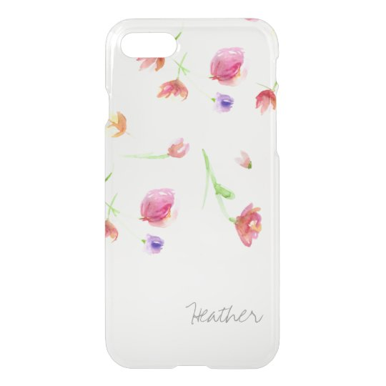 Watercolor flowers, personalised with name. iPhone 8/7 case