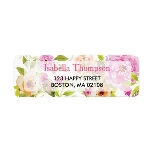 Watercolor Flowers Return Address Label