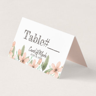 Watercolor Flowers. Spring Wedding. Table. Place Card