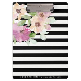 Watercolor Flowers & Stripes Clipboard