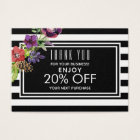 Watercolor Flowers & Stripes Holiday Discount Business Card