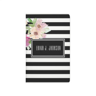 Watercolor Flowers & Stripes Journal