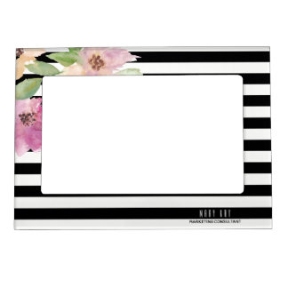 Watercolor Flowers & Stripes Magnetic Picture Frame