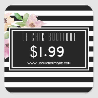 Watercolor Flowers & Stripes Price Square Sticker