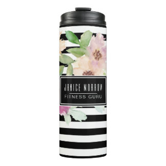 Watercolor Flowers & Stripes Thermal Tumbler