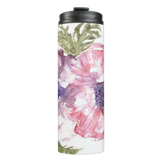Watercolor flowers thermal tumbler
