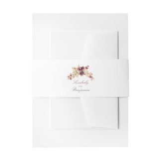 Watercolor Flowers Vintage Wedding Invitation Belly Band