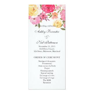 Watercolor Flowers Wedding Ceremony Program 10 Cm X 24 Cm Invitation Card
