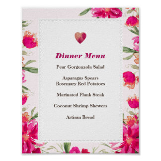 Watercolor Flowers Wedding Dinner Menu Board Print