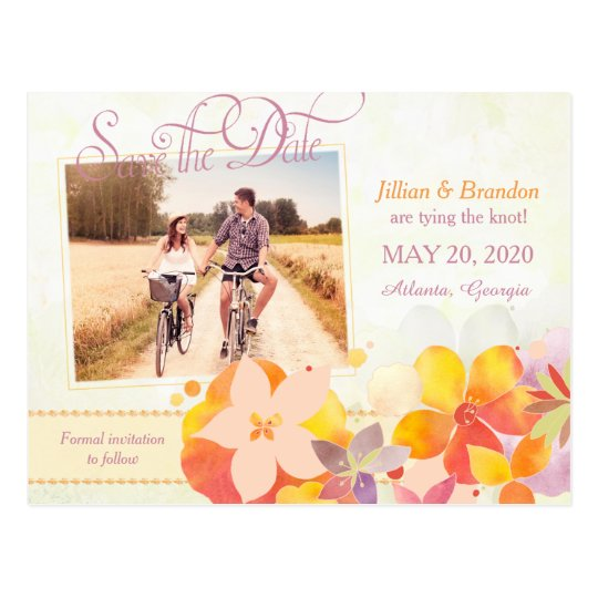 Watercolor Flowers Wedding Photo Save the Date Postcard