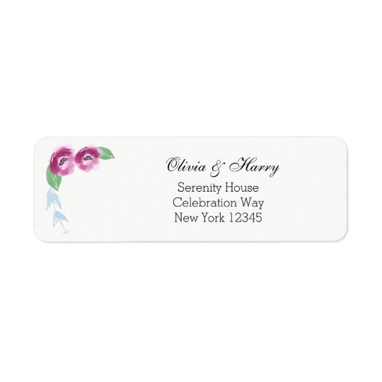 Watercolor Flowers Wedding Return Address Labels