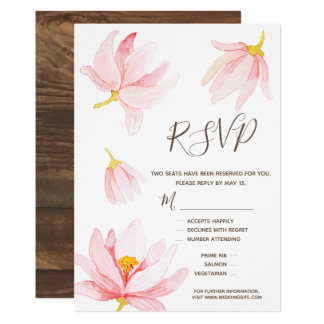 Watercolor  Flowers. Wedding RSVP Meal Options Card