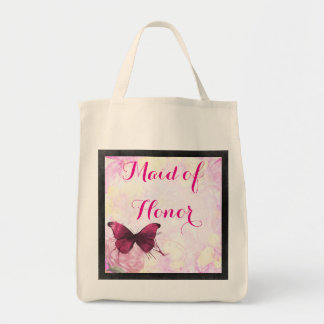 Watercolor Flowers with Butterfly Wedding Grocery Tote Bag