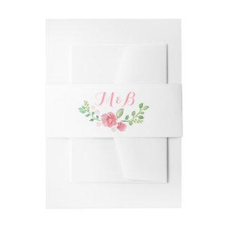 Watercolor Flowers Wreath Elegant Wedding Invitation Belly Band