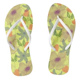 Watercolor Flowers Yellow Flip Flops