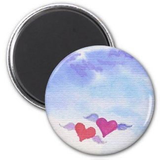 Watercolor Flying Hearts 6 Cm Round Magnet