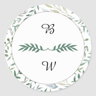 Watercolor Foliage Greenery Wedding Classic Round Sticker