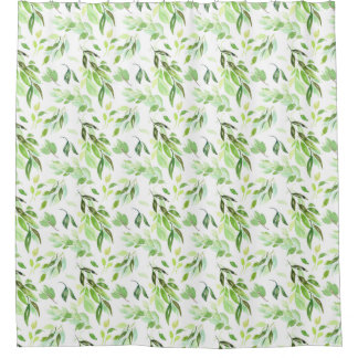 Watercolor Foliage Pattern Shower Curtain