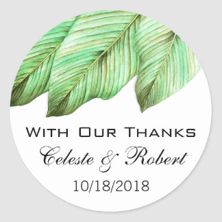 Watercolor Foliage Tropical Wedding Classic Round Sticker