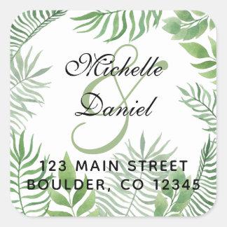 Watercolor Foliage Wedding  Address Label
