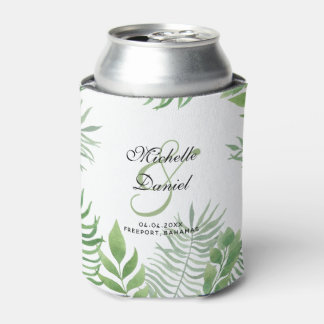 Watercolor Foliage Wedding Can Cooler