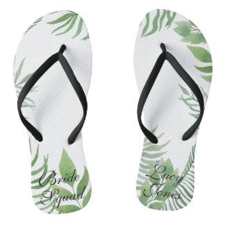 Watercolor Foliage Wedding Flip Flops