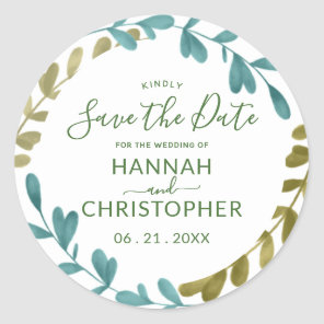 Watercolor Foliage Wedding Save the Date Stickers