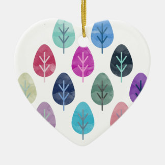 Watercolor Forest Pattern Ceramic Heart Decoration
