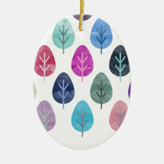 Watercolor Forest Pattern Ceramic Oval Decoration