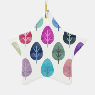Watercolor Forest Pattern Ceramic Star Decoration