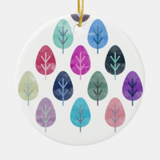 Watercolor Forest Pattern Round Ceramic Decoration