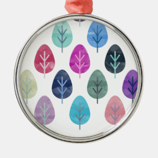 Watercolor Forest Pattern Silver-Colored Round Decoration