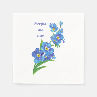 "Watercolor ""Forget me not"" Pretty Blue Flower art Paper Napkins"