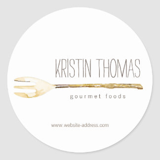 Watercolor Fork Catering, Chef, Food Round Sticker