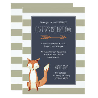 Watercolor Fox Navy Orange Stripes Birthday 13 Cm X 18 Cm Invitation Card