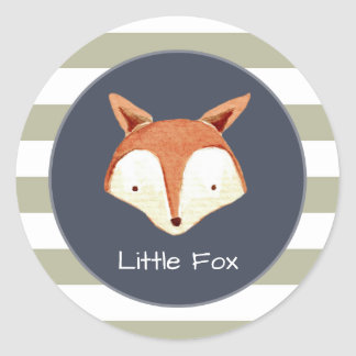 Watercolor Fox Navy Orange Woodland Sticker