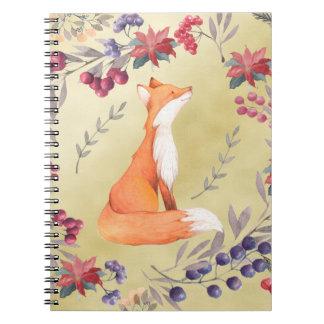 Watercolor Fox Winter Berries Gold Notebook