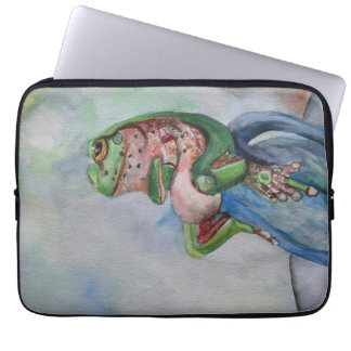 "Watercolor Frog Neoprene Laptop Sleeve 13"""