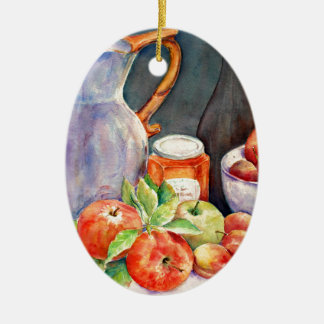 watercolor fruit still life ceramic oval decoration
