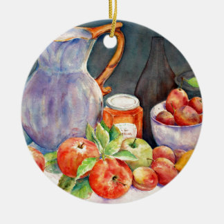 watercolor fruit still life round ceramic decoration
