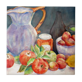 watercolor fruit still life tile