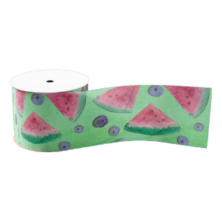 Watercolor Fruit Watermelon Berry Green Grosgrain Ribbon