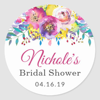 Watercolor Fuchsia Gold Flowers Bridal Shower Classic Round Sticker